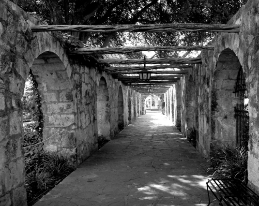 This was a walkway lining a low setting of military barracks at The Alamo